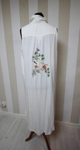 Długa dzianinowa kamizelka biały