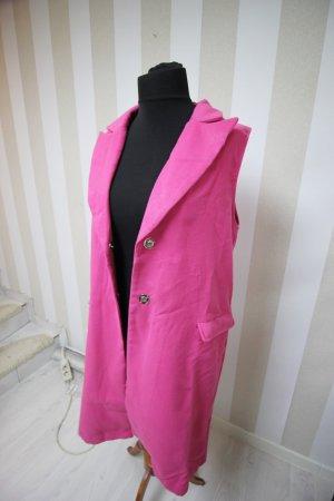 Chaleco de punto largo rosa