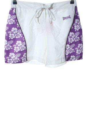 Lonsdale Hot pants grigio chiaro-lilla motivo floreale stile casual
