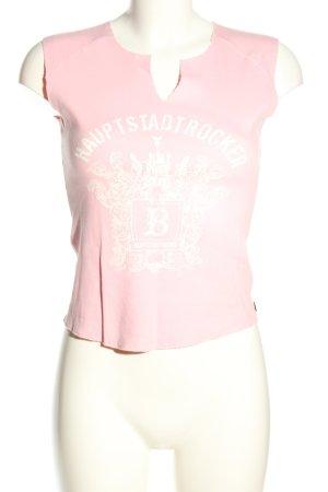 Look 54 Print-Shirt pink-weiß Motivdruck Casual-Look