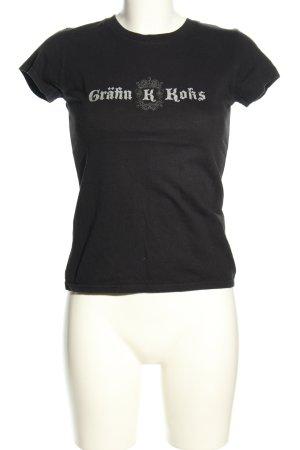 Look 54 Print-Shirt schwarz Schriftzug gedruckt Casual-Look