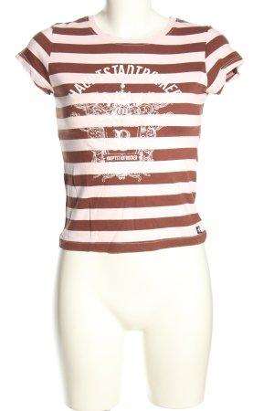 Look 54 T-Shirt braun-weiß Motivdruck Casual-Look