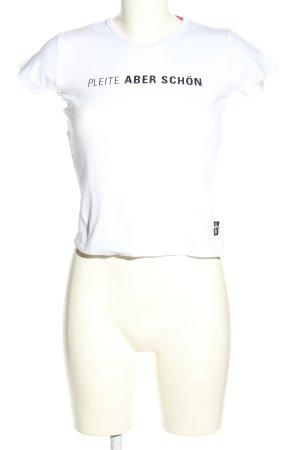 Look 54 T-Shirt weiß Schriftzug gedruckt Casual-Look