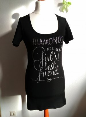 LOOK54 Shirt longshirt Gr.XL M L 38 40 Schwarz Straßstein Diamonds