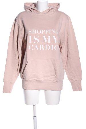 Lookabe Kapuzensweatshirt pink-weiß Schriftzug gedruckt Casual-Look