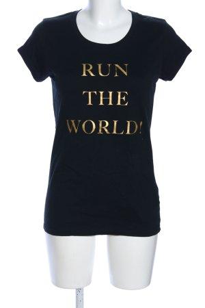 Lookabe Print-Shirt schwarz Schriftzug gedruckt Casual-Look