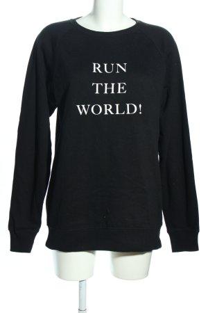 Lookabe Sweatshirt schwarz-weiß Schriftzug gedruckt Casual-Look