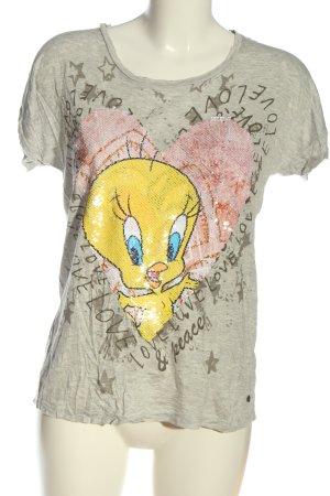 Looney Tunes T-shirt imprimé gris clair moucheté style décontracté