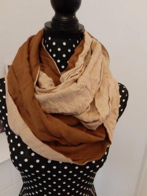Bufanda tubo marrón-crema Viscosa