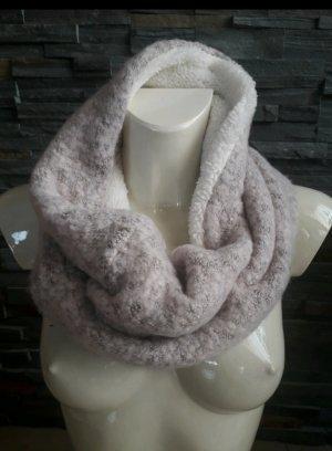 H&M Bufanda tubo blanco puro-rosa empolvado