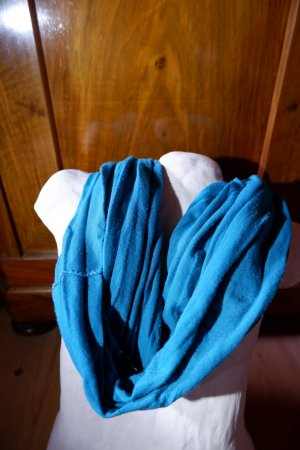 Écharpe ronde bleu cadet coton