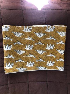 Écharpe tube brun sable-blanc