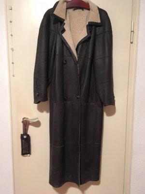 Leather Coat dark grey fur
