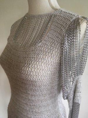 Azzaro Crochet Top light grey-natural white metal