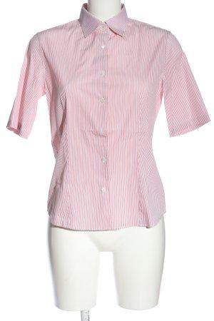 Loro Piana Camicia a maniche corte rosa-bianco motivo a righe stile casual