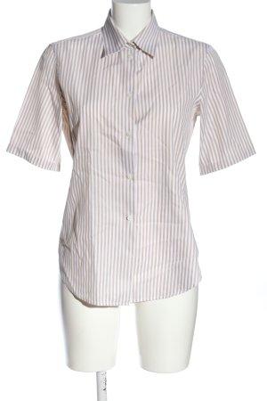 Loro Piana Camicia a maniche corte grigio chiaro-bianco motivo a righe