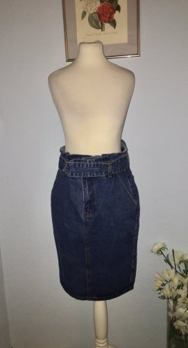 Lost Ink Jeansrock mit hoher Taille knielang