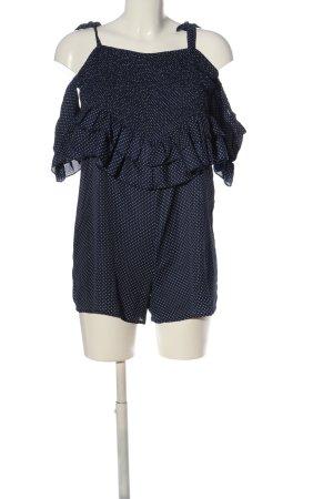 Lost Ink Jumpsuit weiß-blau Punktemuster Casual-Look