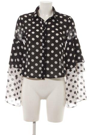 Lost Ink Langarm-Bluse schwarz-weiß Punktemuster