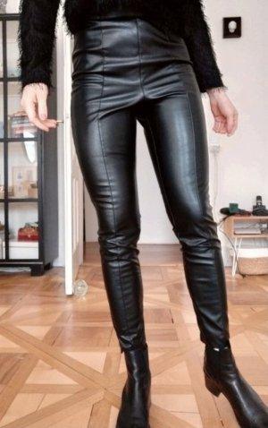 Lost Ink Lederleggins Hose Kunstleder Leggings High Waist schwarz 36 S