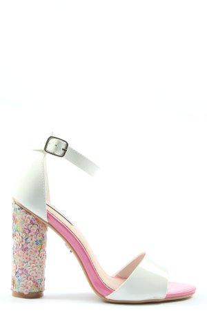 Lost Ink Sandalen met bandjes en hoge hakken roze-wit elegant