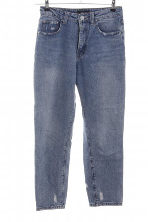 Lost Ink Hoge taille jeans blauw Logo applicatie (leer)