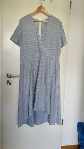 Lost Ink Robe bas asymétrique blanc-bleu azur coton