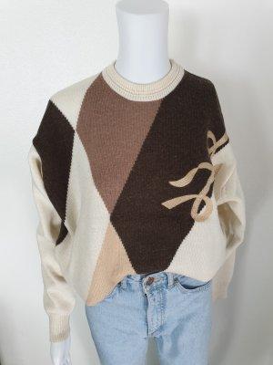 Lotos 46 braun beige Cardigan Strickjacke Oversize Pullover Hoodie Pulli True Vintage