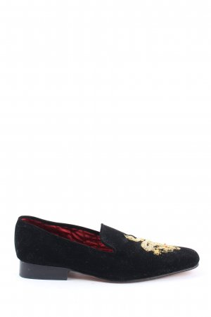 Lotus Slipper schwarz-goldfarben Casual-Look