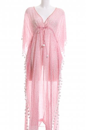 Lotus Strandkleid pink-weiß Allover-Druck Casual-Look