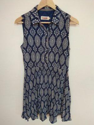 Louche Blusenkleid blau/weiß gemustert (M)