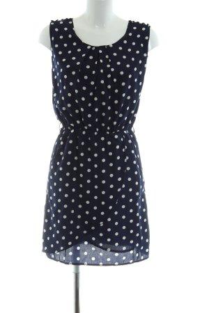 Louche Minikleid blau-weiß Punktemuster Casual-Look