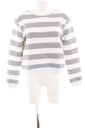 Louche Rundhalspullover weiß-silberfarben Streifenmuster Casual-Look