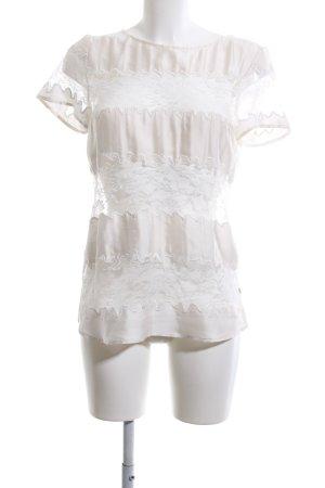LOUIS and MIA Top de encaje blanco puro-blanco estampado floral elegante