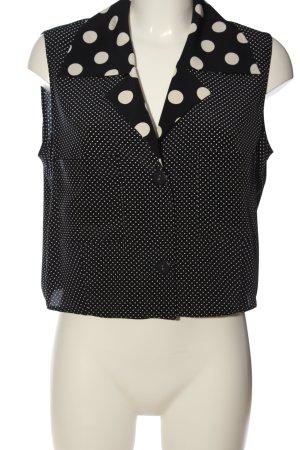 Louis Feraud Camicia blusa nero-bianco sporco motivo a pallini stile casual