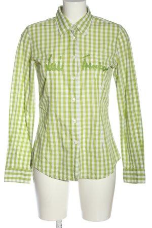 Louis Trenker Camisa de leñador blanco-verde estampado a cuadros look casual