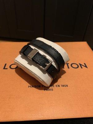 Louis Vuitton Bracelet en cuir noir-argenté