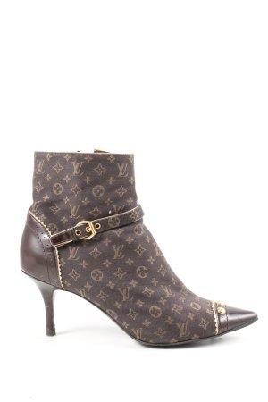Louis Vuitton Booties braun-wollweiß Schriftzug gedruckt Elegant