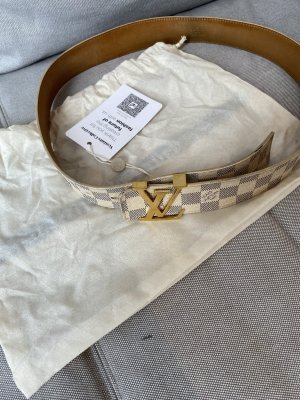 Louis Vuitton Cintura di pelle crema-beige