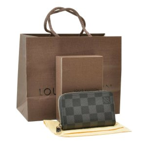 Louis Vuitton Wallet grey textile fiber