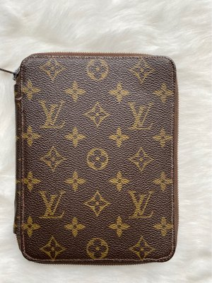 Louis Vuitton Writing Case cognac-coloured-black brown leather