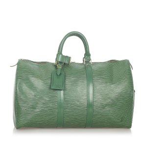 Louis Vuitton Bolso de viaje verde Cuero