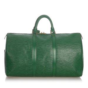Louis Vuitton Sac de voyage vert cuir