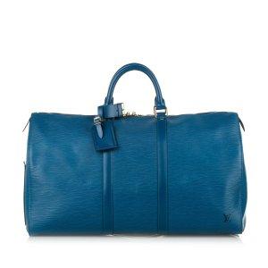 Louis Vuitton Borsa da viaggio blu Pelle