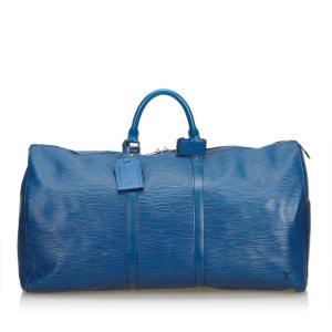 Louis Vuitton Bolso de viaje azul Cuero
