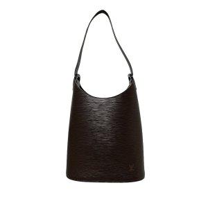 Louis Vuitton Sac porté épaule brun foncé cuir