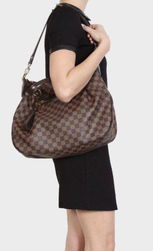 Louis Vuitton Shoulder Bag black brown-dark red linen