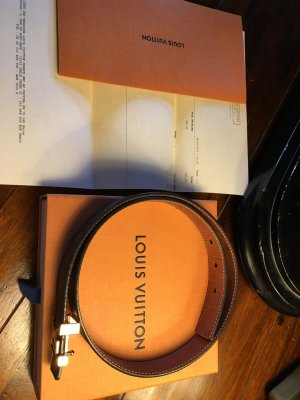 Louis Vuitton Ceinture de taille cognac-brun foncé cuir