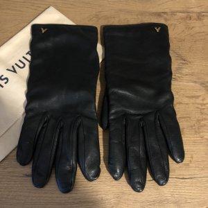 Louis Vuitton Guantes de cuero negro-color oro