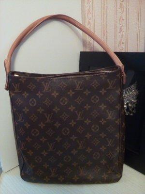 Louis Vuitton Handtasche braun-creme Allover-Druck Business-Look